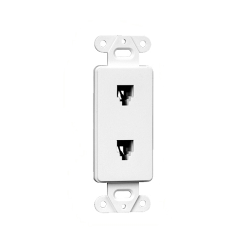Dual Telephone Rj 11 Decora Style Wall Plate Insert
